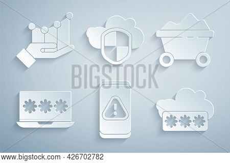 Set Mobile With Exclamation Mark, Coal Mine Trolley, Laptop Password, Password Protection, Cloud And