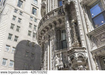 Beautiful Detailed Of Art Deco Building Facade In Manhattan, New York City
