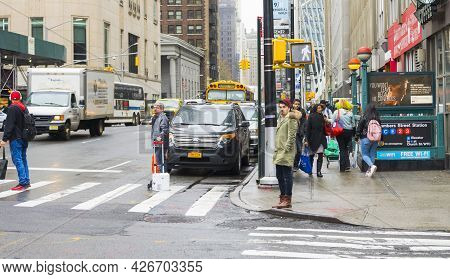 New York City,ny - April 22, 2018 : Street View Of Chamber Street Station On A Gloomy Day In New Yor