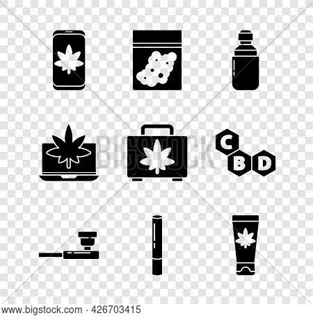Set Mobile And Marijuana Or Cannabis, Plastic Bag Of, Marijuana Olive Oil, Smoking Pipe, Joint, Medi
