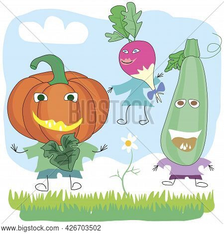 Vegetables In The Form Of Characters Radish, Pumpkin And Zucchini