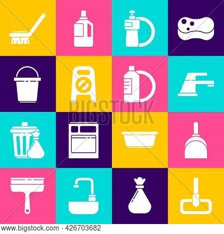 Set Mop, Dustpan, Water Tap, Dishwashing Liquid Bottle And Plate, Wet Floor Cleaning Progress, Bucke