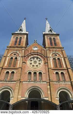 Notre Dame Cathedral With Blue Sky In Ho Chi Minh City, Vietnam