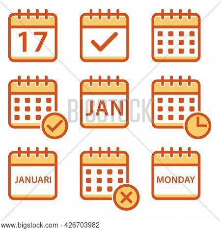 Calendar Icon Set. Meeting Deadlines Icon. Agenda Icon. Appointment Schedule Icon