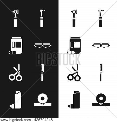 Set Safety Goggle Glasses, Medicine Bottle And Pills, Medical Otoscope Tool, Tooth Drill, Scissors,