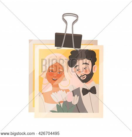 Happy Just Married Couple Faces On Photograph Hold By Binder Clip Vector Illustration