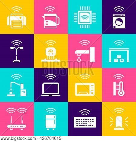Set Smart Flasher Siren, Thermometer, Warehouse, Processor With Microcircuits Cpu, Sensor, Street Li