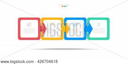 Square Step Infographic In Eps10 Vector (divided Into Layers In File), 4 Colors  For 4 Steps With Bu