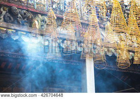 Spiral Incense At Thien Hau Temple In Ho Chi Minh City, Vietnam.