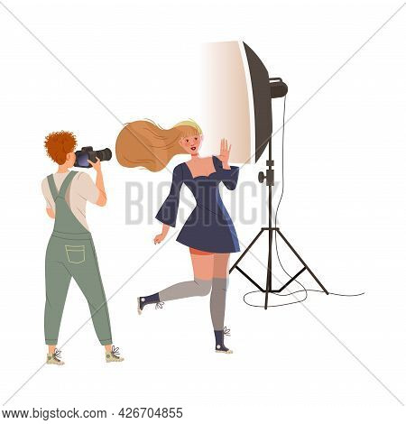 Photographer Shooting Posing Female With Professional Camera And Studio Lighting Equipment Vector Il