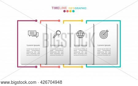 4 Options Infographic Banner.4 Step Timeline Vector With Business Icon.(divided Into Layers In File)