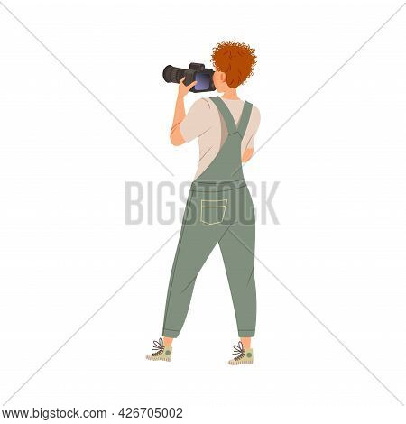 Photographer Shooting With Professional Camera In Studio Vector Illustration