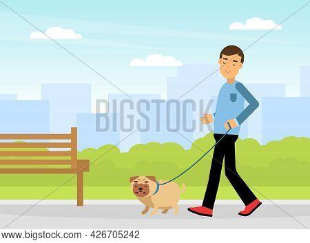 Young Man Walking Pet Dog On Leash Vector Illustration
