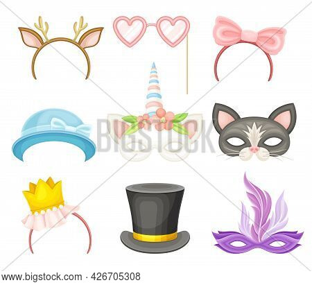 Party Birthday Photo Booth Prop With Hairband And Mask Vector Set