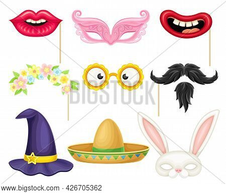 Party Birthday Photo Booth Prop With Lips And Moustache Vector Set
