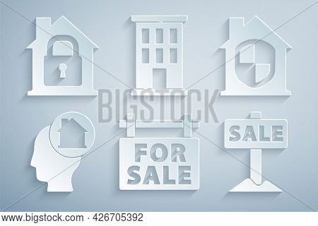 Set Hanging Sign With For Sale, House Under Protection, Man Dreaming About Buying House, And Icon. V
