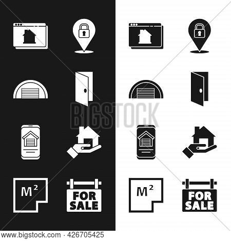 Set Closed Door, Garage, Online Real Estate House, Location Lock, Realtor, Hanging Sign With For Sal