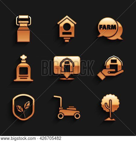 Set Location Farm House, Lawn Mower, Tree, Farm In Hand, Shield With Leaf, Full Sack, Speech Bubble