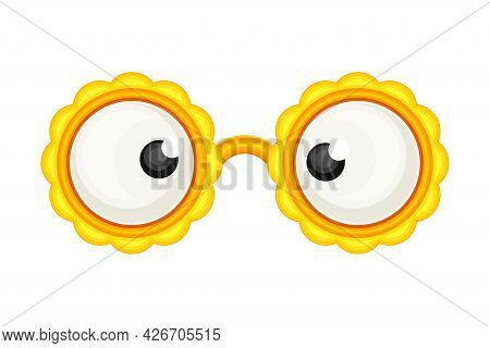 Eyeglasses With Wide Eyes As Party Birthday Photo Booth Prop Vector Illustration