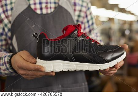 Leather Sport Shoe Sneakers New Collection Presentation Midsection Shot