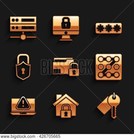Set Folder And Lock, House Under Protection, Marked Key, Graphic Password, Laptop With Exclamation M