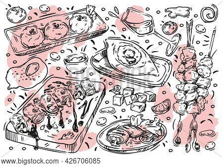 Hand Drawn Line Vector Illustration Food On White Background. Doodle Georgian Cuisine: Khachapuri Ad