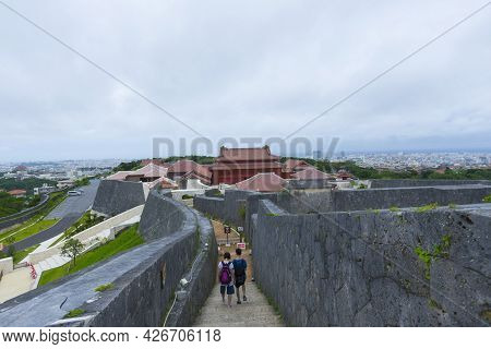 Okinawa, Japan - June 8,2019 : View At The Top Of Shuri Castle Rampart Overlooking Okinawa Skyline I
