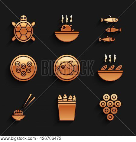 Set Puffer Fish On A Plate, Fishing Bucket With Fishes, Caviar, Soup, Sushi, Fishes And Turtle Icon.