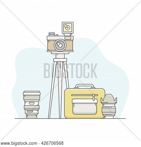 Photo Content Production With Optical Camera Instrument On Tripod Line Vector Illustration
