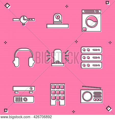Set Wrist Watch, Security Camera, Washer, Headphones, Flasher Siren, Server, Data, Web Hosting, Mult
