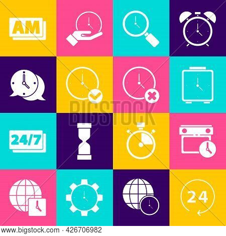 Set Clock 24 Hours, Calendar And Clock, Alarm, Magnifying Glass With, Speech Bubble, Am And Delete I
