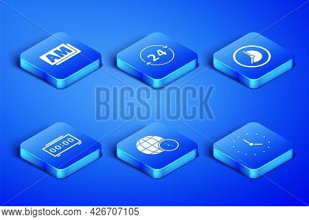 Set Clock, Am, World Time, Digital Alarm Clock, 24 Hours And Icon. Vector