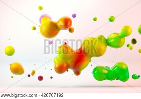 Abstract 3d Illustration Colorful Gradient Drop Liquid Over White Background.art And Creative Design