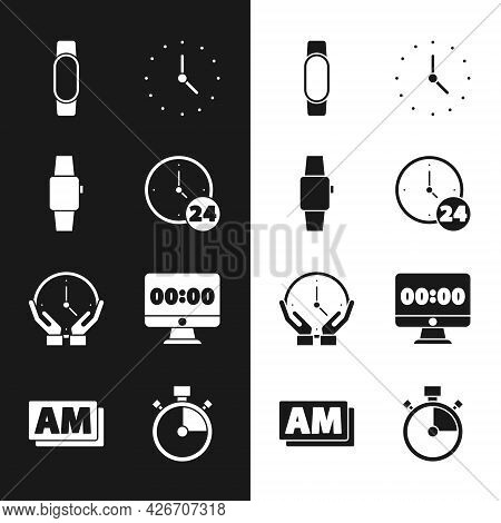 Set Clock 24 Hours, Smartwatch, On Monitor, Stopwatch And Am Icon. Vector