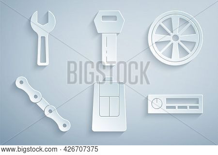Set Car Key With Remote, Alloy Wheel, Chain, Audio, And Wrench Spanner Icon. Vector