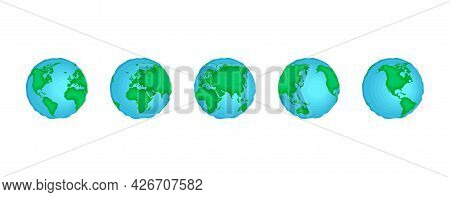 Planet Earth Sphere Rotate Set. World Map In Globe Shape Spinning Collection. Continents And Oceans