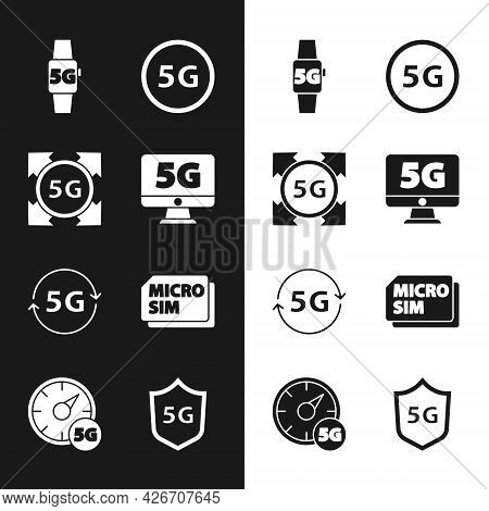 Set Monitor With 5g Network, Smart Watch, Micro Sim Card, Protective Shield And Digital Speed Meter