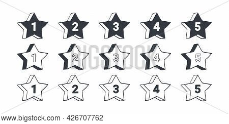 Rating Signs. Stars Quality Rating Icons. Drawn Icons Of Stars. Vector Illustration