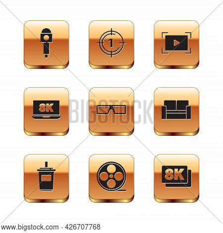 Set Microphone, Paper Glass With Water, Film Reel, 3d Cinema Glasses, Laptop 8k, Online Play Video,