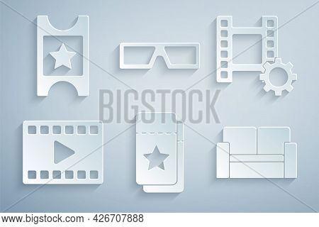 Set Cinema Ticket, Play Video, Chair, 3d Cinema Glasses And Icon. Vector