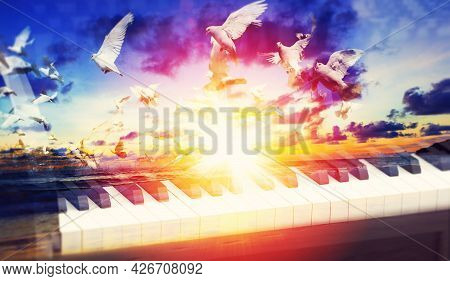 Evangelical Christian Music Concept Background. Musical Design With Piano And Sunset Landscape With