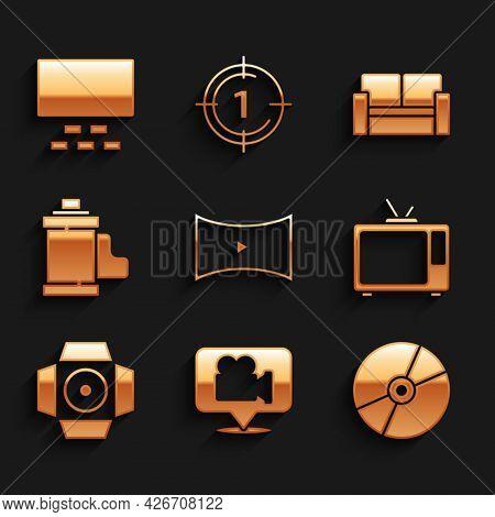 Set Online Play Video, Camera And Location, Cd Or Dvd Disk, Retro Tv, Movie Spotlight, Film Roll Car