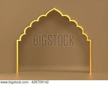 3d Rendering Ornate Frame With Indian Or Arabesque Motif. Template For Indian, Arabic Wedding Invita