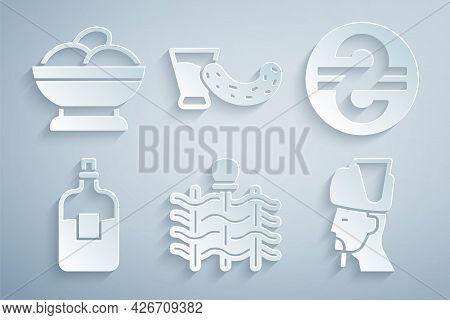 Set Wicker Fence, Ukrainian Hryvnia, Bottle Of Vodka, Cossack, Glass With And Varenyky Bowl Icon. Ve