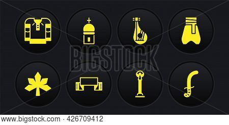 Set Chestnut Leaf, Cossack Pants, Embroidered Towel, Monument Of Independence, Bandura, Church Tower
