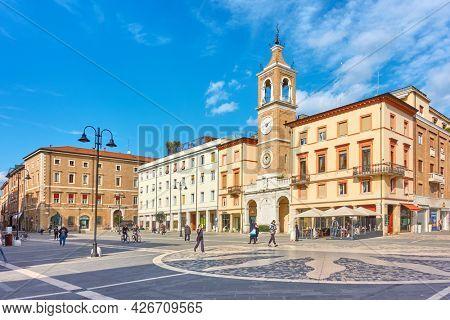 Rimini, Italy - February 25, 2020:  Square of the Three Martyrs (Piazza Tre Martiri) in Rimini, Emilia-Romagna