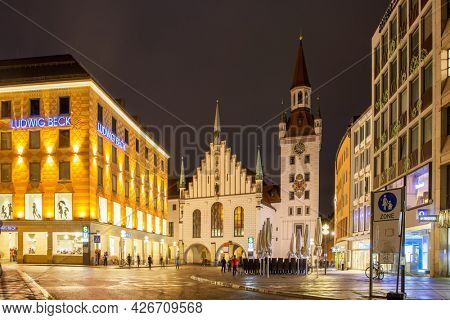 Munich, Germany - May 19, 2016: Old Town Hall (Altes Rathaus) on Marienplatz at night