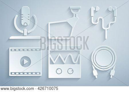 Set Oscilloscope, Air Headphones, Online Play Video, Audio Jack, Movie Spotlight And Microphone Icon
