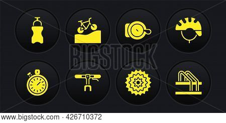 Set Stopwatch, Bicycle Helmet, Handlebar, Cassette, Bell, Mountain Bicycle, Parking And Sport Bottle