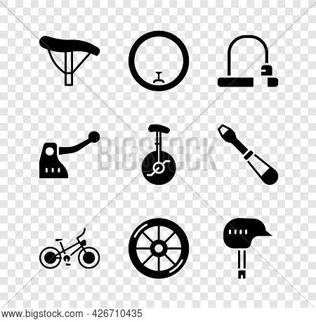 Set Bicycle Seat, Wheel, Lock, Helmet, Brake And Unicycle Or One Bicycle Icon. Vector
